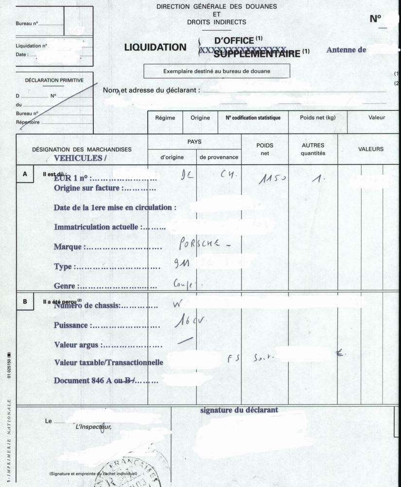 certificat de dédouanement 846 a